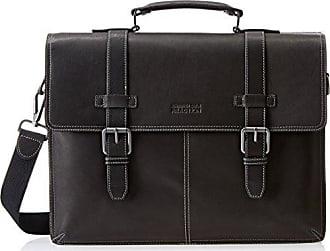 Kenneth Cole Black Leather Flap over Portfolio Business Briefcase Messenger Bag