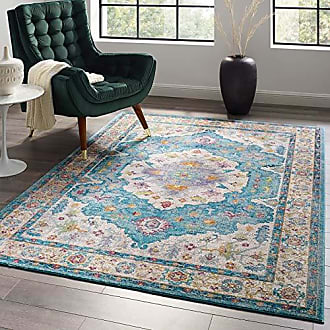 ModWay Anisah Distressed Vintage Floral Persian Medallion Area Rug, 5x8, Light Blue, Ivory, Yellow, Orange