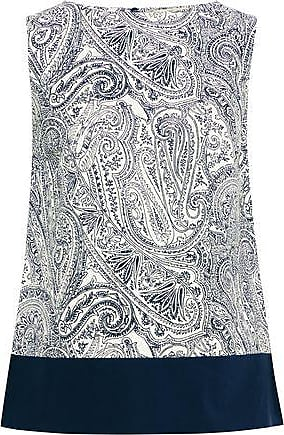 Etro Etro Woman Poplin-paneled Printed Cotton, Silk And Linen-blend Top Navy Size 40