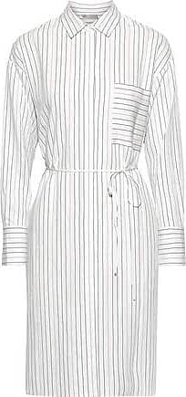 Vince Vince. Woman Pinstriped Poplin Shirt Dress White Size XL