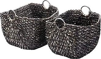 Trademark Villacera Tessa 15 Tall Handmade Wicker Water Hyacinth Rectangle Nesting Baskets in Black Braided Seagrass | Set of 2