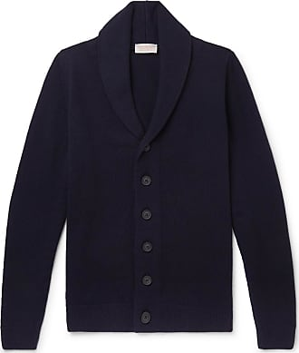 John Smedley Patterson Shawl-collar Wool And Cashmere-blend Cardigan - Blue