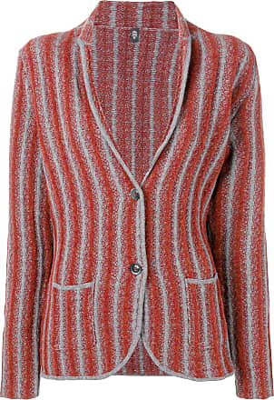 Eleventy Blazer de tricô listrado - Vermelho