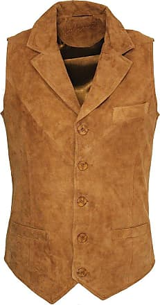 Infinity Mens Smooth Goat Suede Classic Smart Tan Leather Waistcoat 4XL