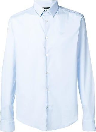 Emporio Armani embroidered logo shirt - Blue