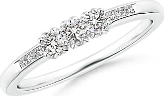 Angara Valentine Day Sale - Three Stone Round Diamond Engagement Ring with Heart-Motifs