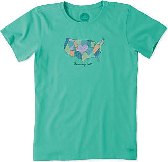 Life is good Womens Friendship Quilt Crusher Tee XS Bright Teal