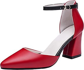 29877b2af4a793 Aiyoumei Damen Spitz Knöchelriemchen Pumps Blockabsatz High Heels Riemchen  Sandaletten Geschlossen Schuhe Rot 37 EU
