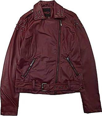 Yoki Womens Faux Leather Moto Jacket with Studs, Burgundy, Large