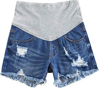 Inlefen Women Maternity Denim Jean Shorts Lounge Shorts Pregnancy Short Pants Adjustable Over Bump Jeans Pants (29-2XL)
