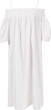 Ganni Baumwoll-Kleid mit Streifen Rosé/Weiß