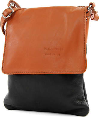 modamoda.de ital leather shoulder bag Messenger bag ladies small T 34, Colour:Black/Camel