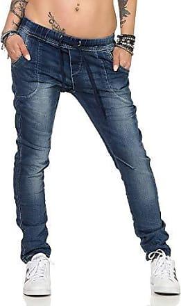 10991 Damen Jeans Hose Regular-Fit Destroyed Cut-Outs Nieten Risse Damenjeans
