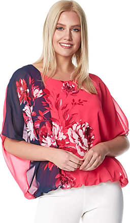 Roman Originals Women Floral Contrast Print Bubblehem Top - Ladies Spring Summer Round Neck Floaty Short Sleeve Flower Border Printed Everyday Chiffon Elasticated Top