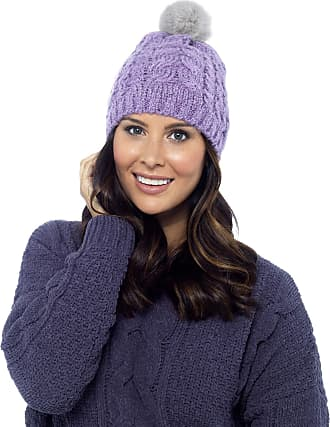 Foxbury Ladies Knitted Hat Faux Fur Bobble Heather