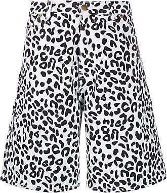 Noon Goons Short jeans animal print - Branco