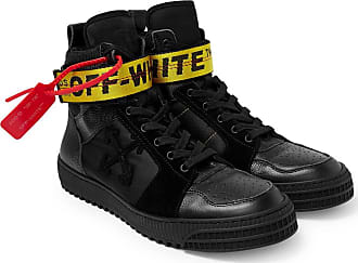 Off-white Industrial Full-grain Leather, Suede And Ripstop High-top Sneakers - Black