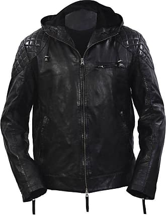 Infinity New Mens Black Retro Real 100% Sheepskin Nappa Leather Short Quilted Hooded Jacket Slim Fit (M)