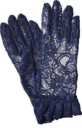 Dents Ladies Short Sheer Lace Dress/Wedding Gloves with Ruffle Cuff (Navy)