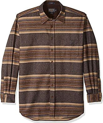 Pendleton Mens Size Long Sleeve Button Front Tall Lodge Shirt, Navy/tan/Blue Stripe, LG