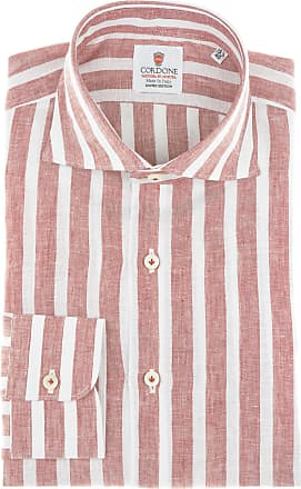 Cordone 1956 Camicia sartoriale Mod. Linen Big Stripes Red And White - Tessuto lino - Colore red - Taglia 36