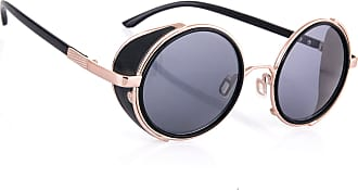 morefaz Steampunk Sunglasses Mirrored 50s Round Glasses Cyber Goggles Vintage Retro Hippy Style Mens Womens Original Mirror Lens MFAZ Morefaz Ltd (Black/Gold)