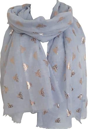 GlamLondon Bumble Bee Print Scarf Ladies Lightweight Fashion Oversize Wrap (ZR-Glit-Blue)