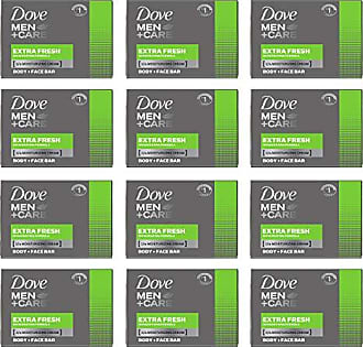 Dove Men+Care Body and Face Bar, Extra Fresh, 4 Ounce (Pack of 12)