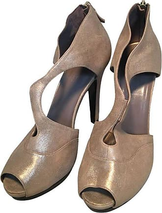 f462e4b4f Hermès Hermes Shimmery Golden Leather Strappy High Heels Size 38