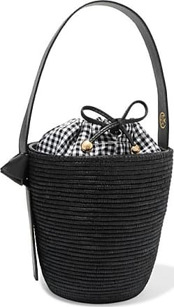 Cesta Collective Lunchpail Leather-trimmed Woven Sisal Bucket Bag - Black