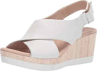 Clarks Womens Cammy Pearl Sandal, White Leather, 9.5 M US