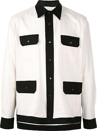 Fumito Ganryu Camisa com recorte contrastante - Branco