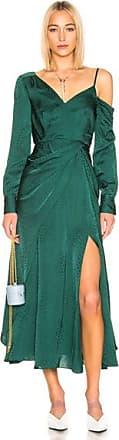 Self Portrait Asymmetric Jacquard Dress in Green