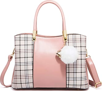 Nobrand Womens plaid handbag, large-capacity shoulder bag slant bag, multi-functional bag for work parties and travel 30×13×20mm Pink