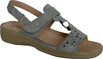 Cushion-Walk Ladies Lightweight Summer Sandal with Touch Close Strap (UK4, Grey/Flower)