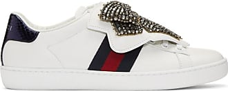 Gucci Ace blanches Baskets Bow Crystal oxrBeCWd