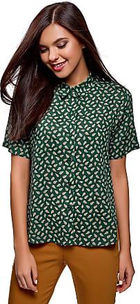oodji Womens Short Sleeve Viscose Blouse, Green, UK 4 / EU 34 / XXS