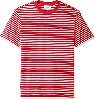 a7f840e6 Lacoste Mens Short Sleeve REG FIT Striped Jersey TEE, Imperial red/Flour, XX