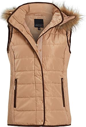 Shelikes Womens Quilted Faux Fur Hood Hooded Gilet Body Warmer [Beige M UK 8]