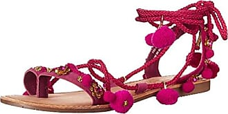 Chinese Laundry Womens Portia Toe Ring Pom Pom Sandal, Pink Suede, 8 M US