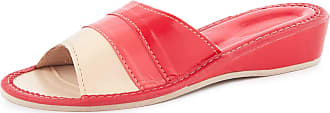 Ladeheid Women´s Leather Shoes Slippers Flipflops LABR78 (Red, 6.5 UK)