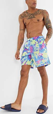 American Eagle Outfitters Pantaloncini da bagno viola slavato con stampa tie-dye da 8