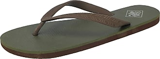 Freewaters Mens Tommy Toe Post EVA Max Cushion Lightweight Sporty Active Beach Water Friendly Flip Flops Mule Sandals Size 6-11 (UK 6, Olive/Brown)