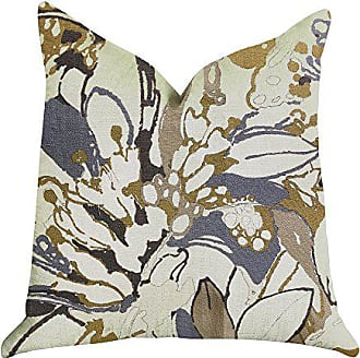 Plutus Brands Camellia Floral Double Sided Luxury Throw Pillow 20 x 20 Blue/Beige/Brown