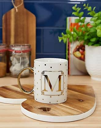 Candlelight M letter mug-White