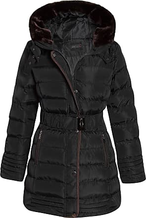 Shelikes Womens Faux Fur Trim Hooded Quilted Padded Warm Long Belted Winter Coat_G130_Black_16