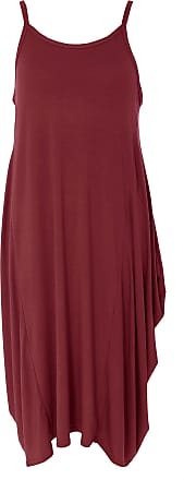 Re Tech UK Womens Ladies Cami Strap Baggy Lagenlook Dress Loose Tulip Sleeveless Round Neck Parachute Oversized Wine