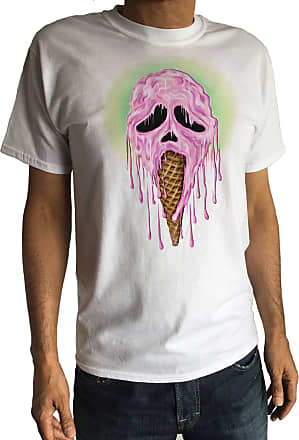 Irony Mens T-Shirt Ice Cream Melting Skeleton Scream Face Skull Horror Halloween TS969 (Small)