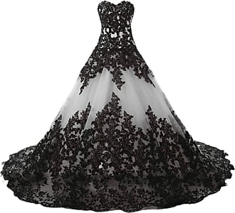 APXPF Womens Gothic Wedding Dress Elegant Black Appliques Prom Ball Gowns - Grey - 14