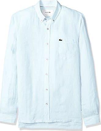5f8bae0d3 Lacoste Mens Long Sleeve Solid Linen Button Down Collar Reg Fit Woven Shirt